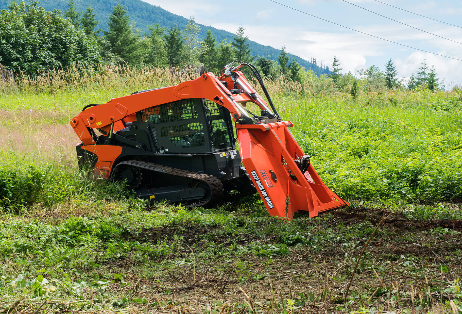 """Eterra Typhoon 74"""" clearing Mower Skid Steer Attachment brush clearing"""