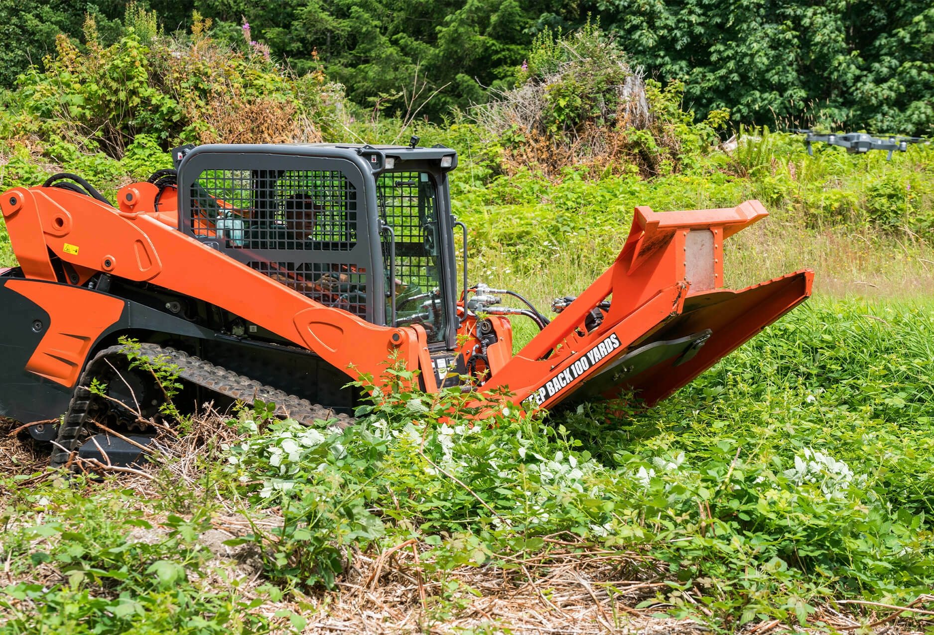 """Eterra Typhoon 74"""" clearing Mower Skid Steer Attachment Close up"""