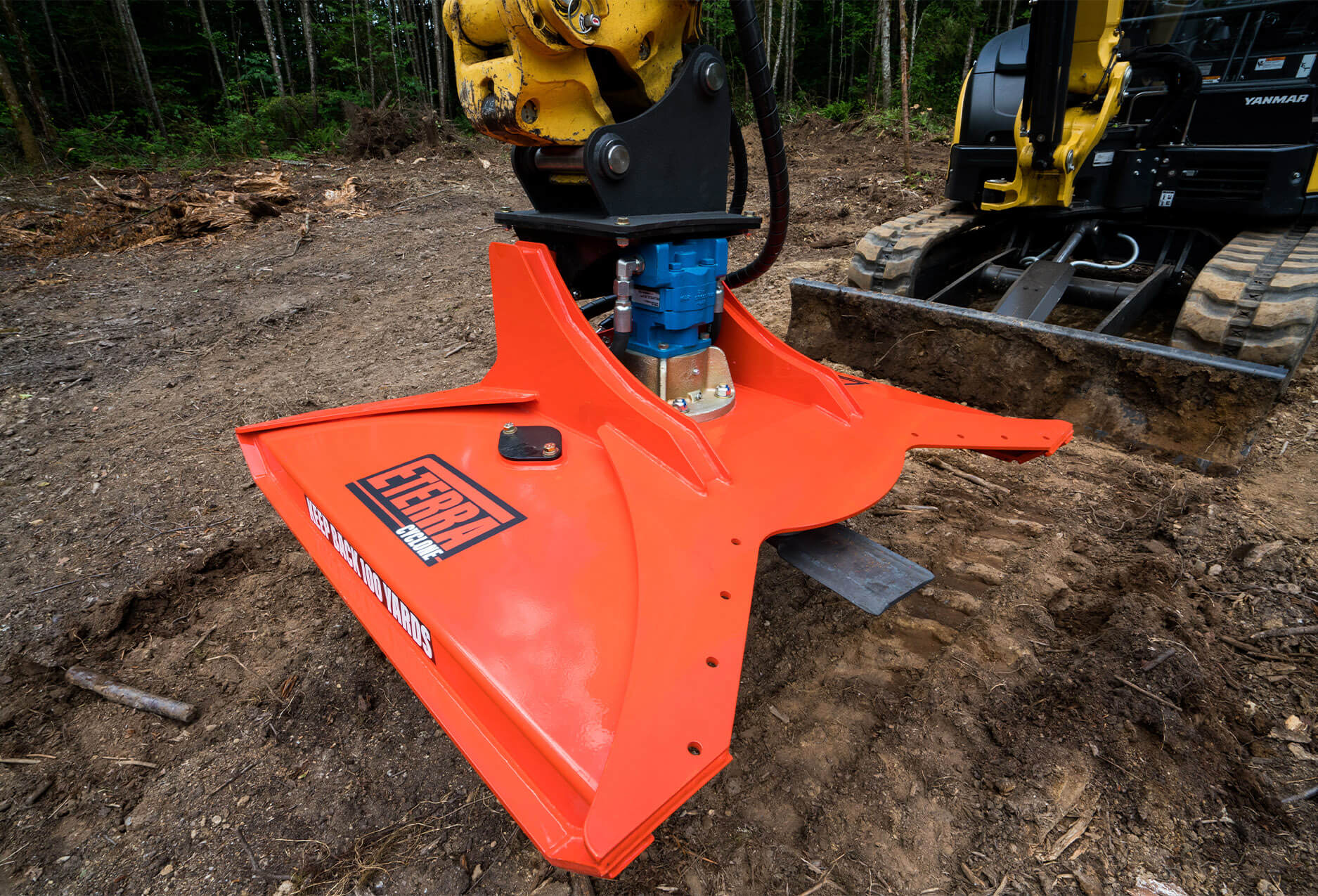 "Eterra Cyclone 48"" Rotary Brush Mower Attachment on Excavator"