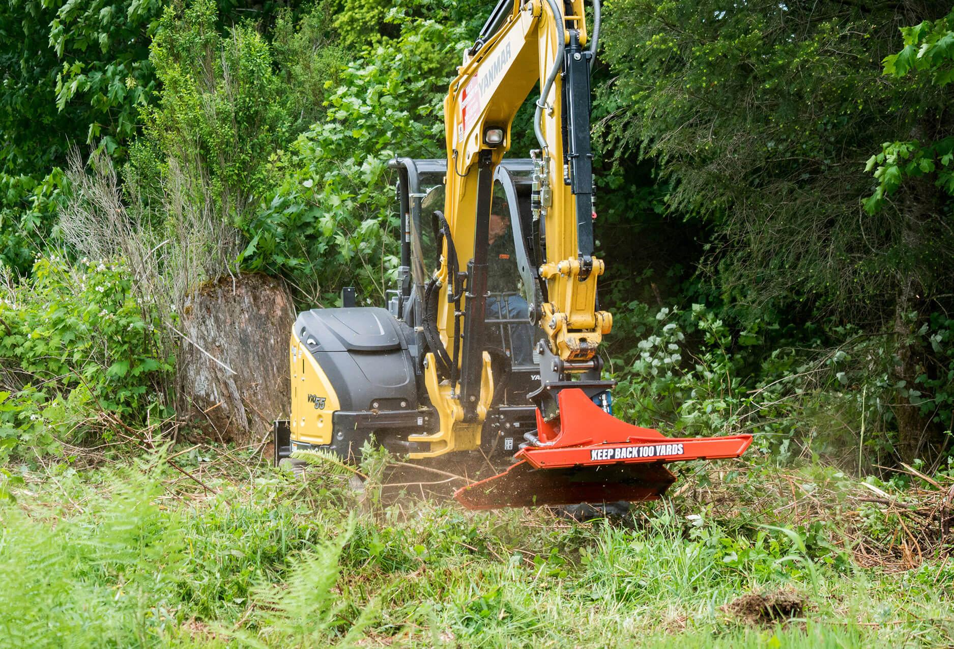 """Eterra Cyclone 48"""" Rotary Brush Mower Attachment on Excavator Yanmar vio"""