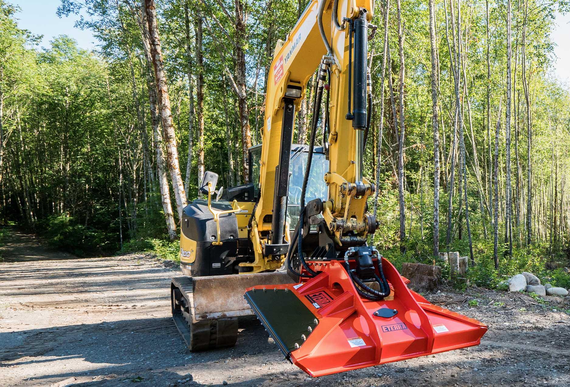 """Cyclone 60"""" excavator brush mower on a Yanmar machine"""