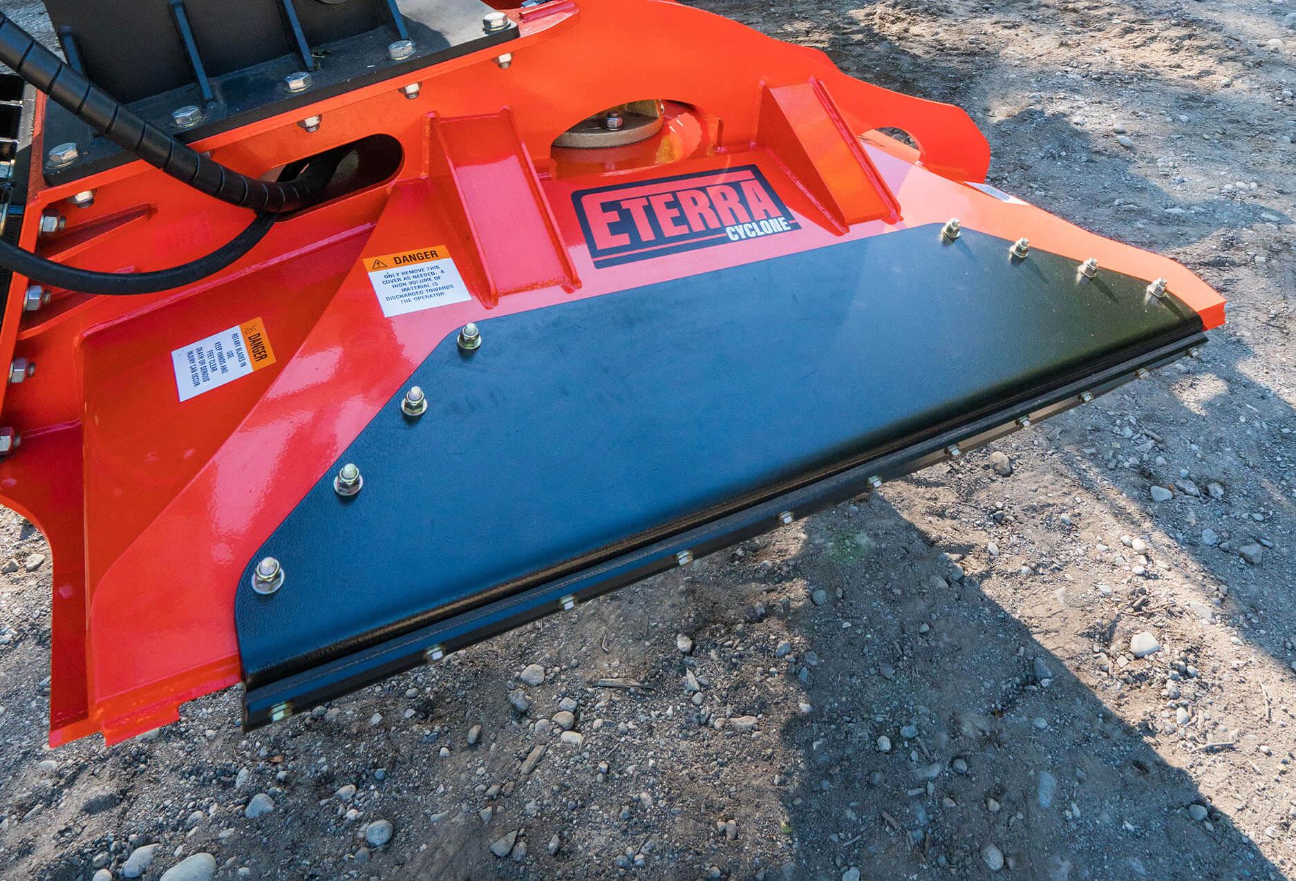 """Close up shot of the Eterra cyclone 60"""" rotary brush mower"""