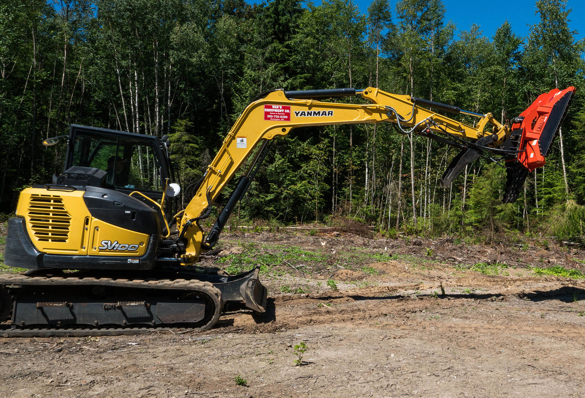 """Yanmar excavator extending it's arm with a cyclone 60"""" excavator brush mower attached."""
