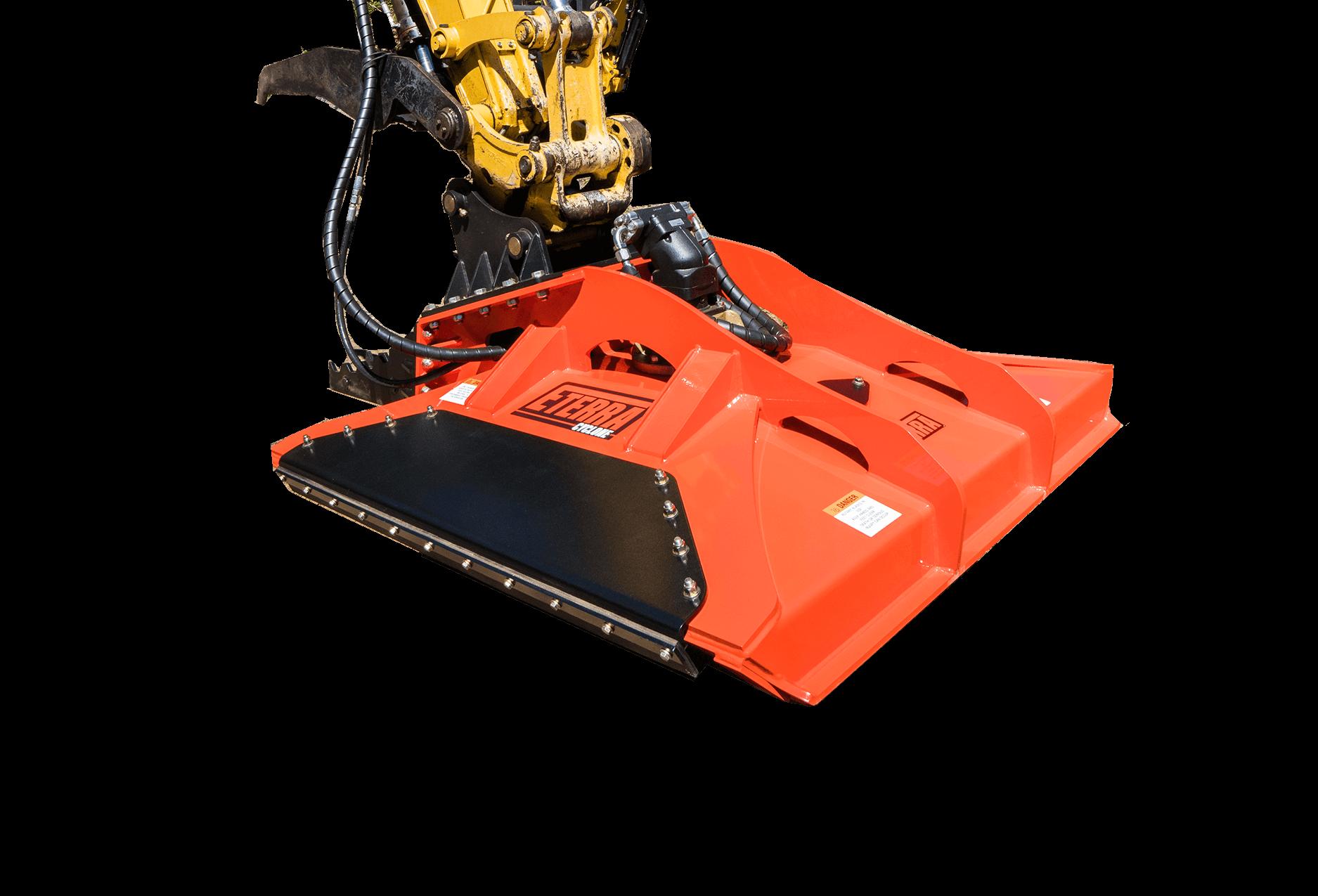 """Cyclone 60"""" rotary brush mower attachment white background."""