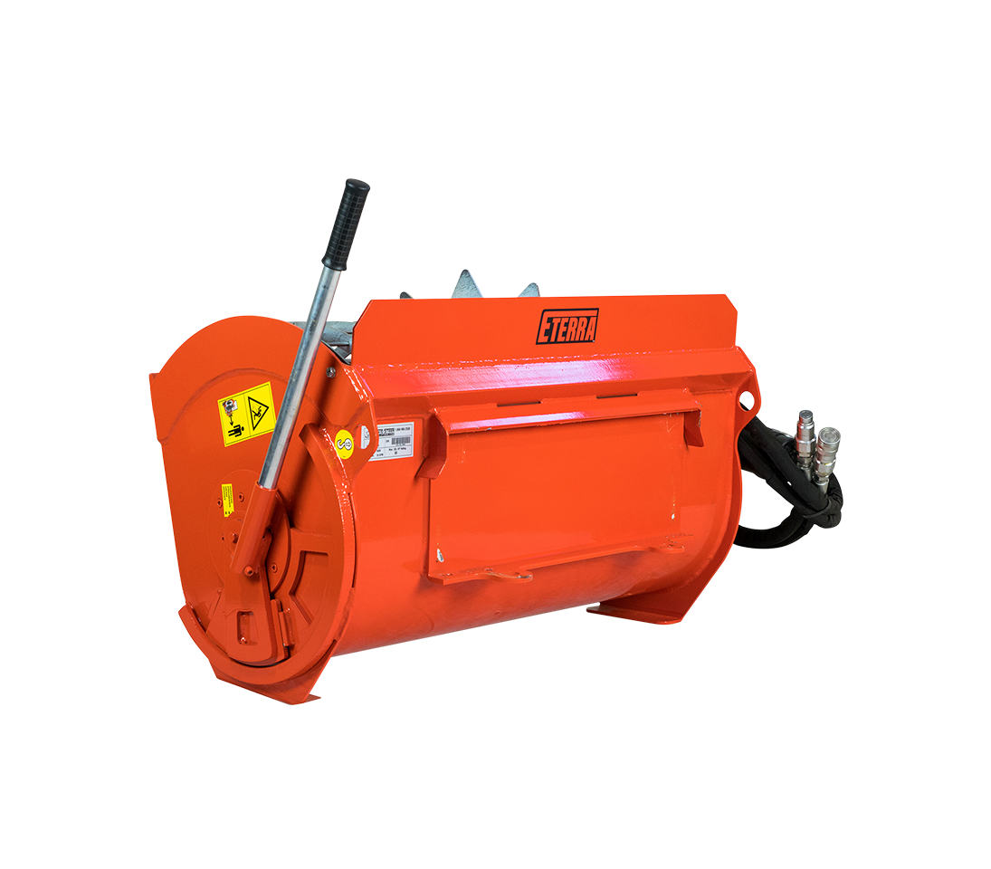 BMX-100 mini skid steer concrete mixer attachment.