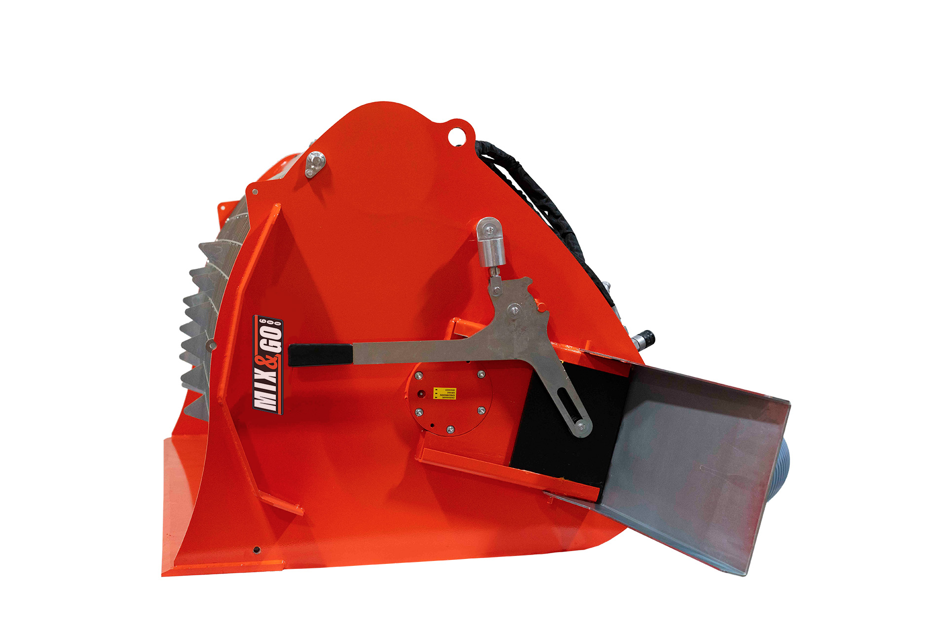 Manual side chute on the bmx-600 skid steer concrete mixer attachment.