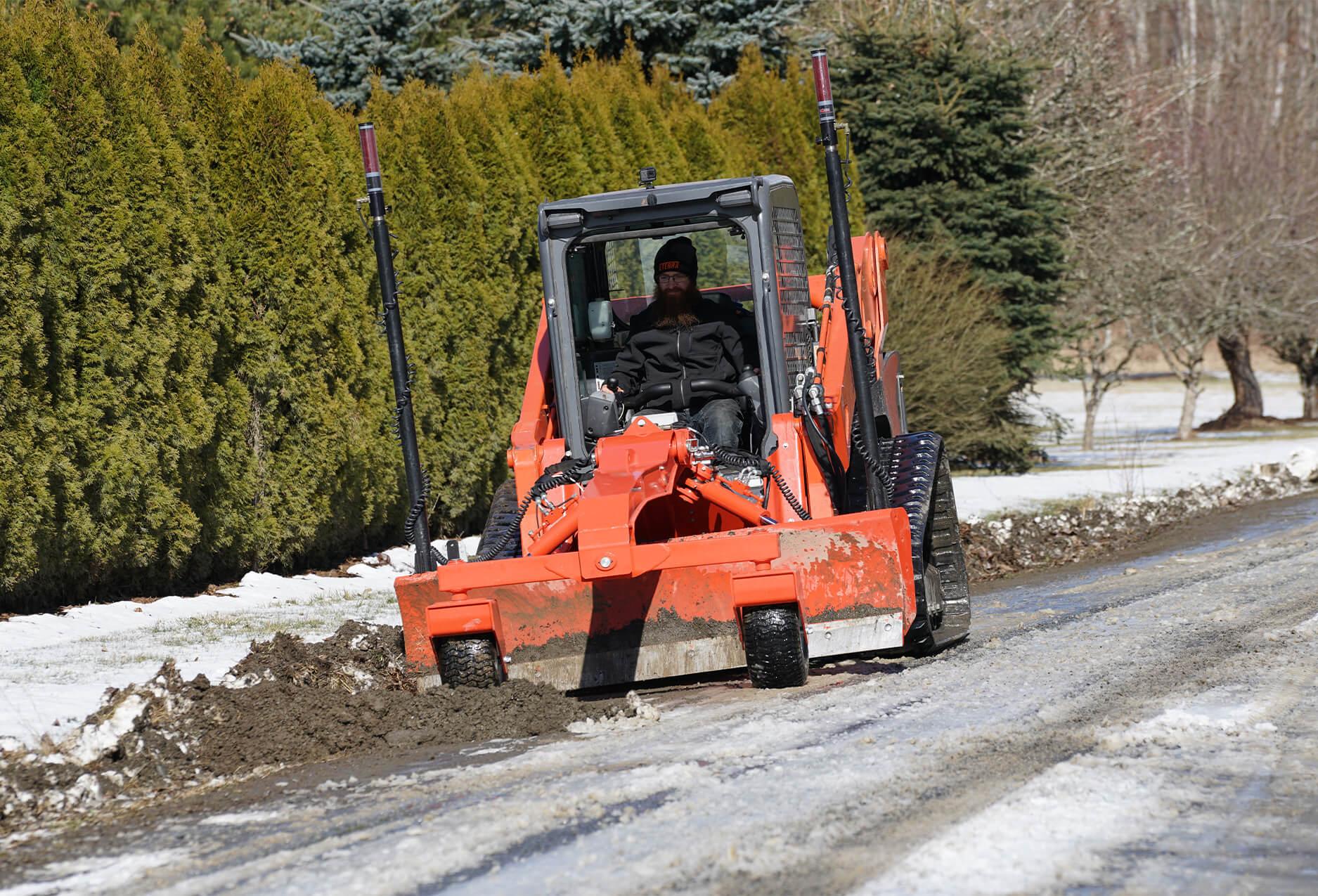 Eterra Dozer Grader Skid Steer Attachment action snow