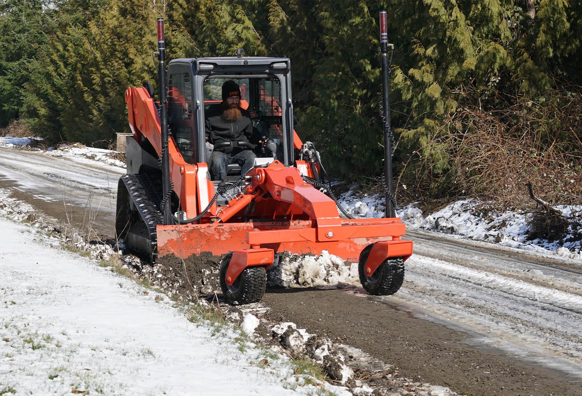 Eterra Dozer Grader Skid Steer Attachment action snow plow