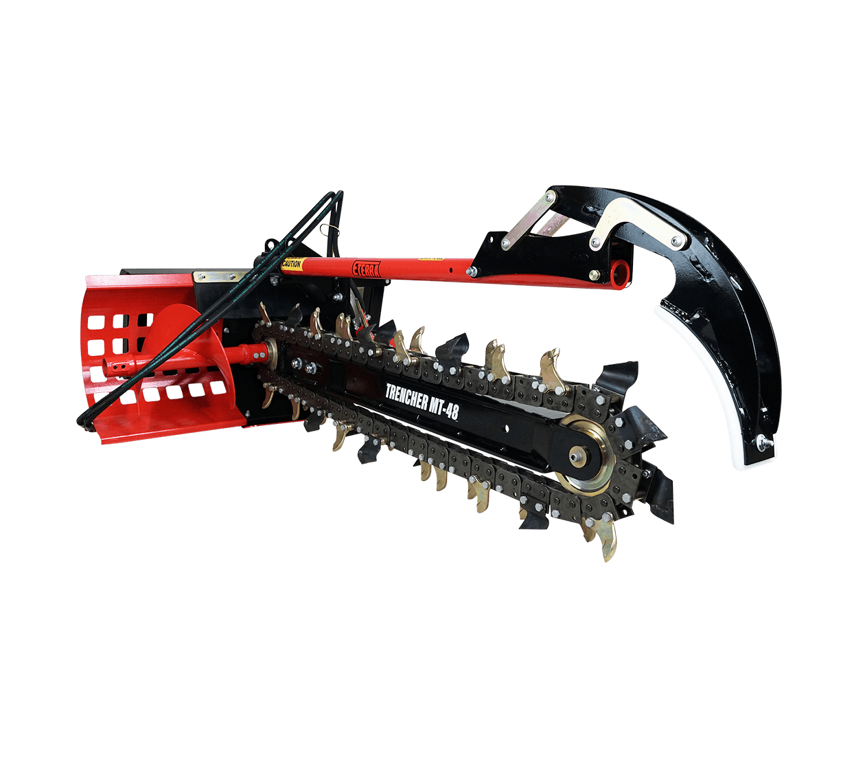 Skid steer 4 ft. trencher attachment with crumber bar.