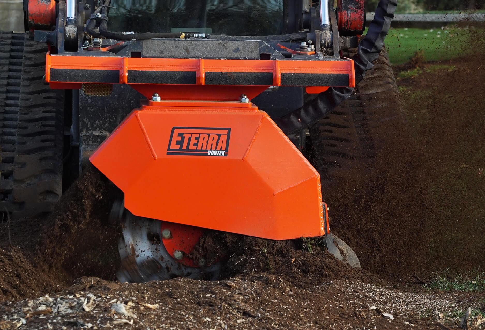 Skid Steer stump grinder Vortex action dirt