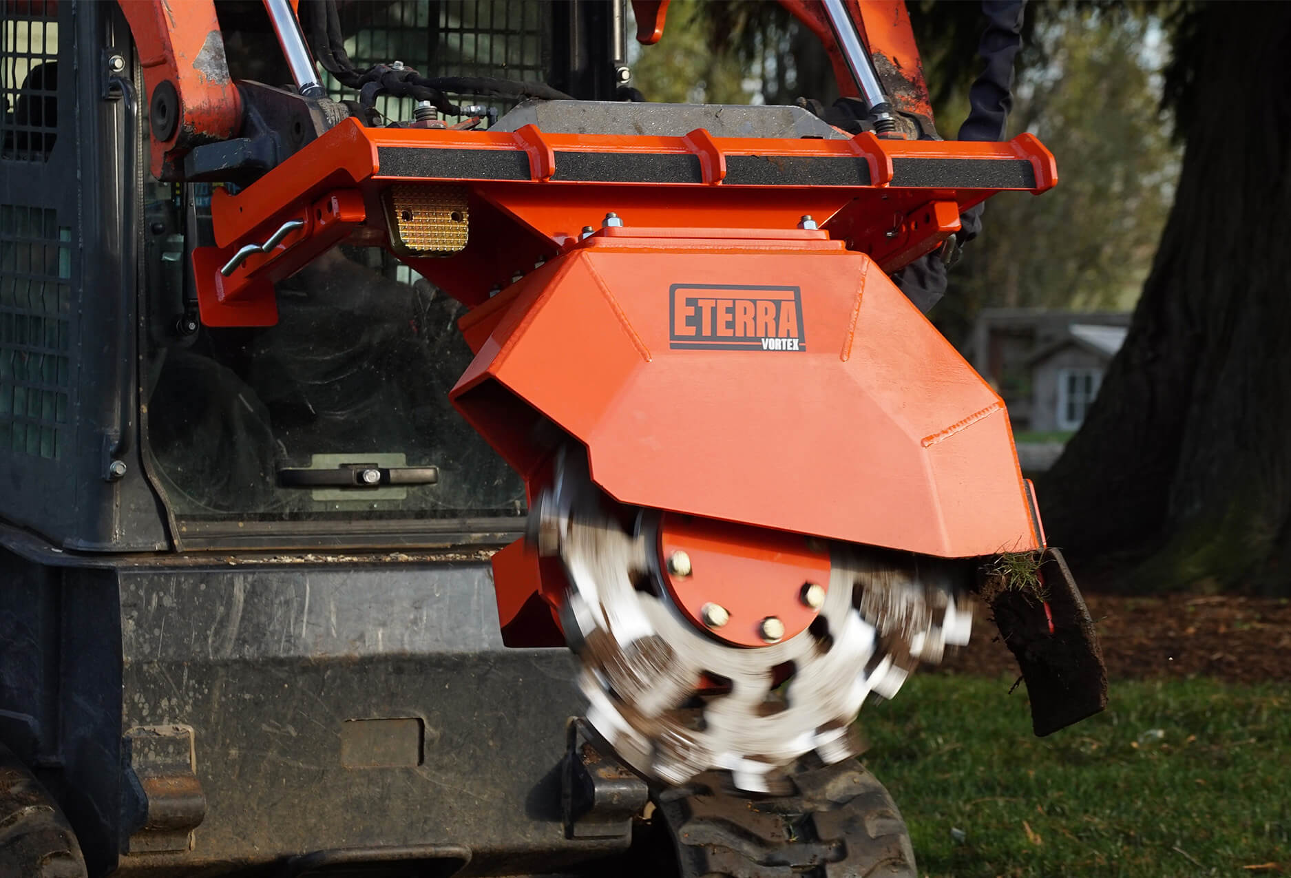 Eterra vortex skid steer stump grinder action