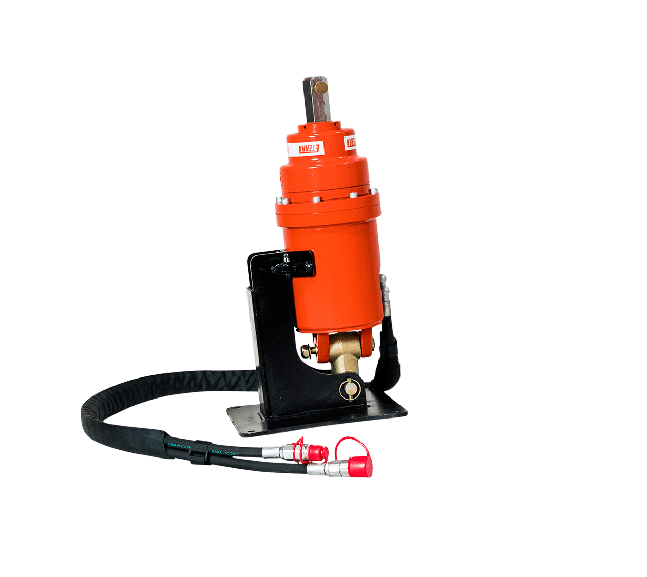 Eterra Excavator auger drive with hoses.