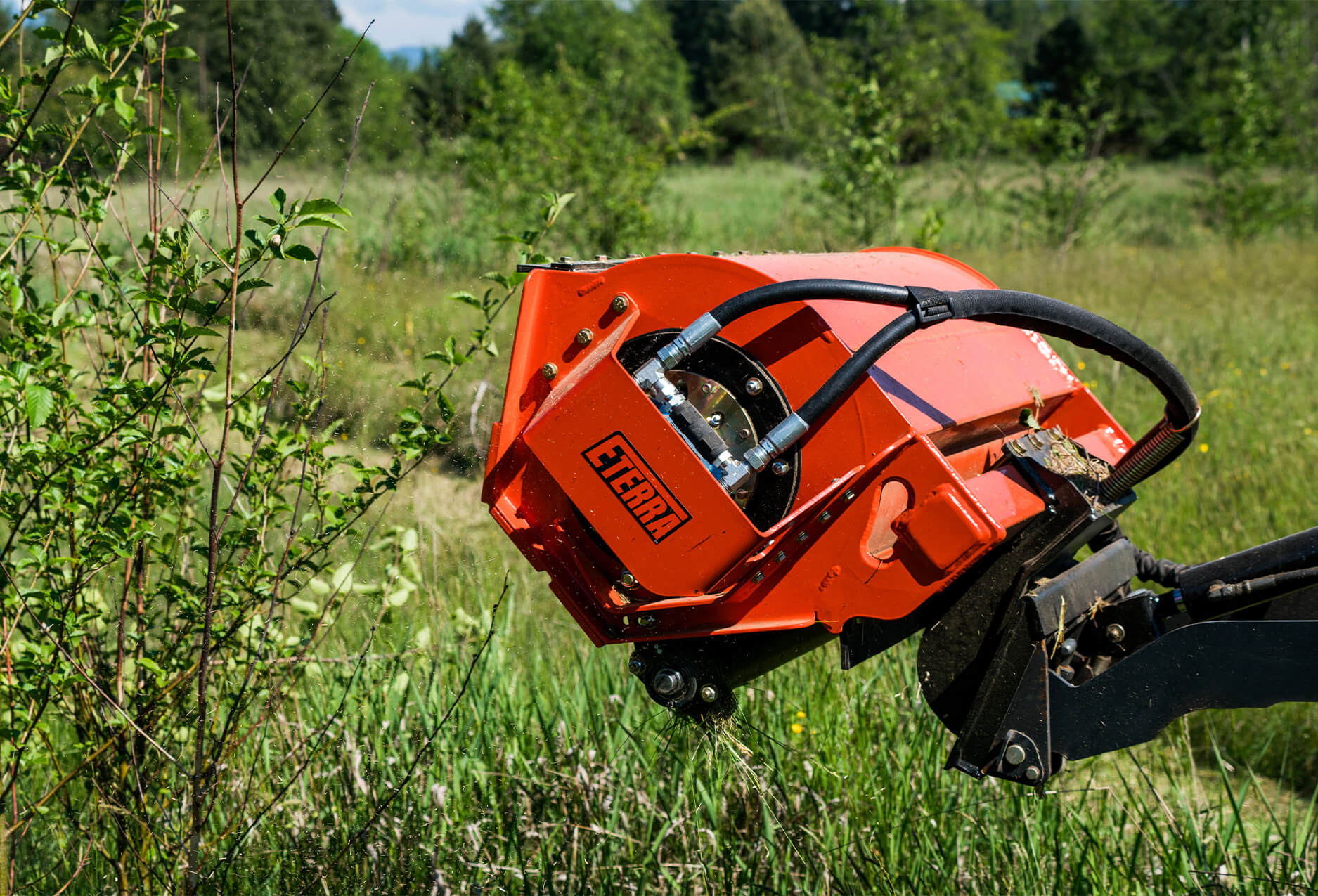 Eterra Sidewinder mini Skid Steer flail mower side angle