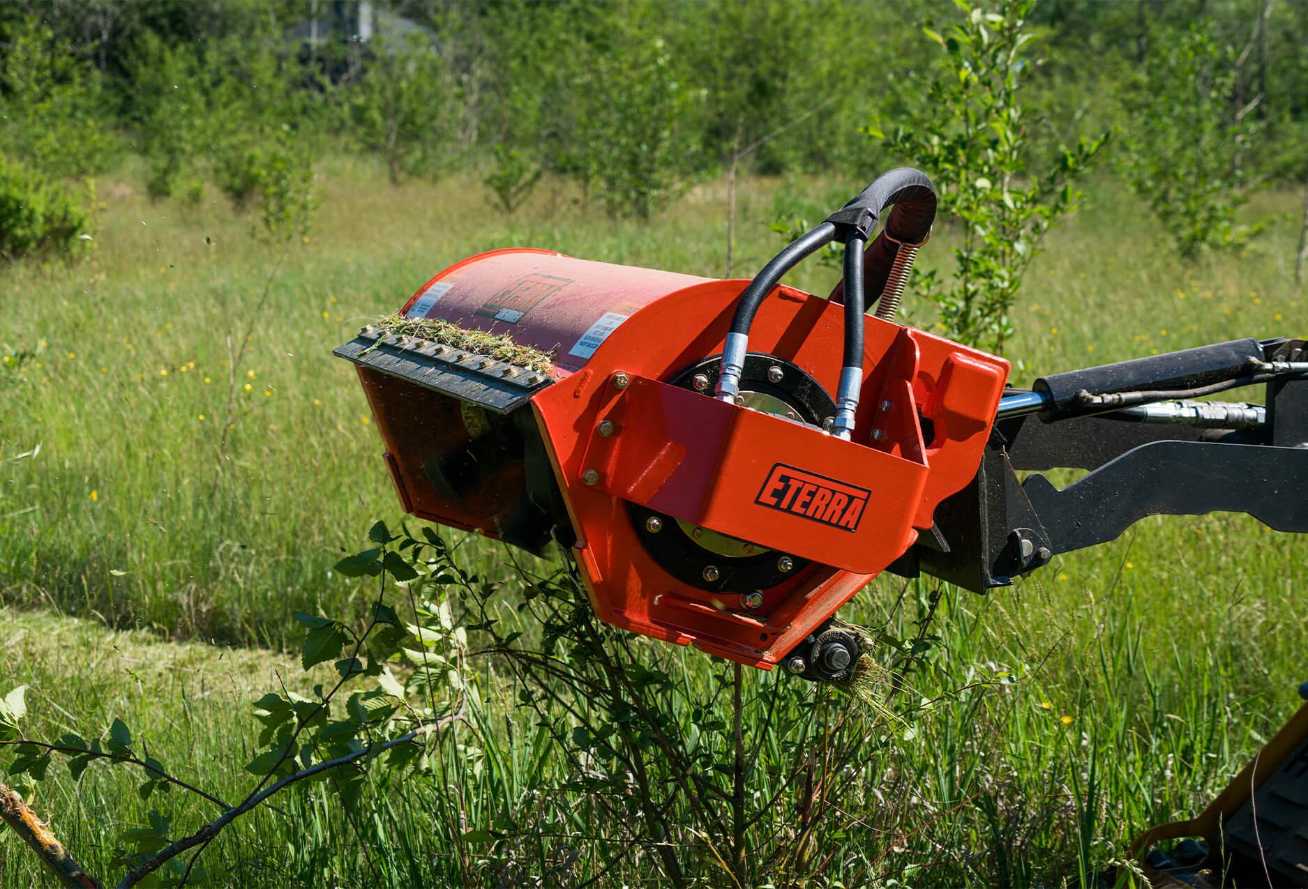 Eterra Sidewinder mini Skid Steer flail mower side angle closeup