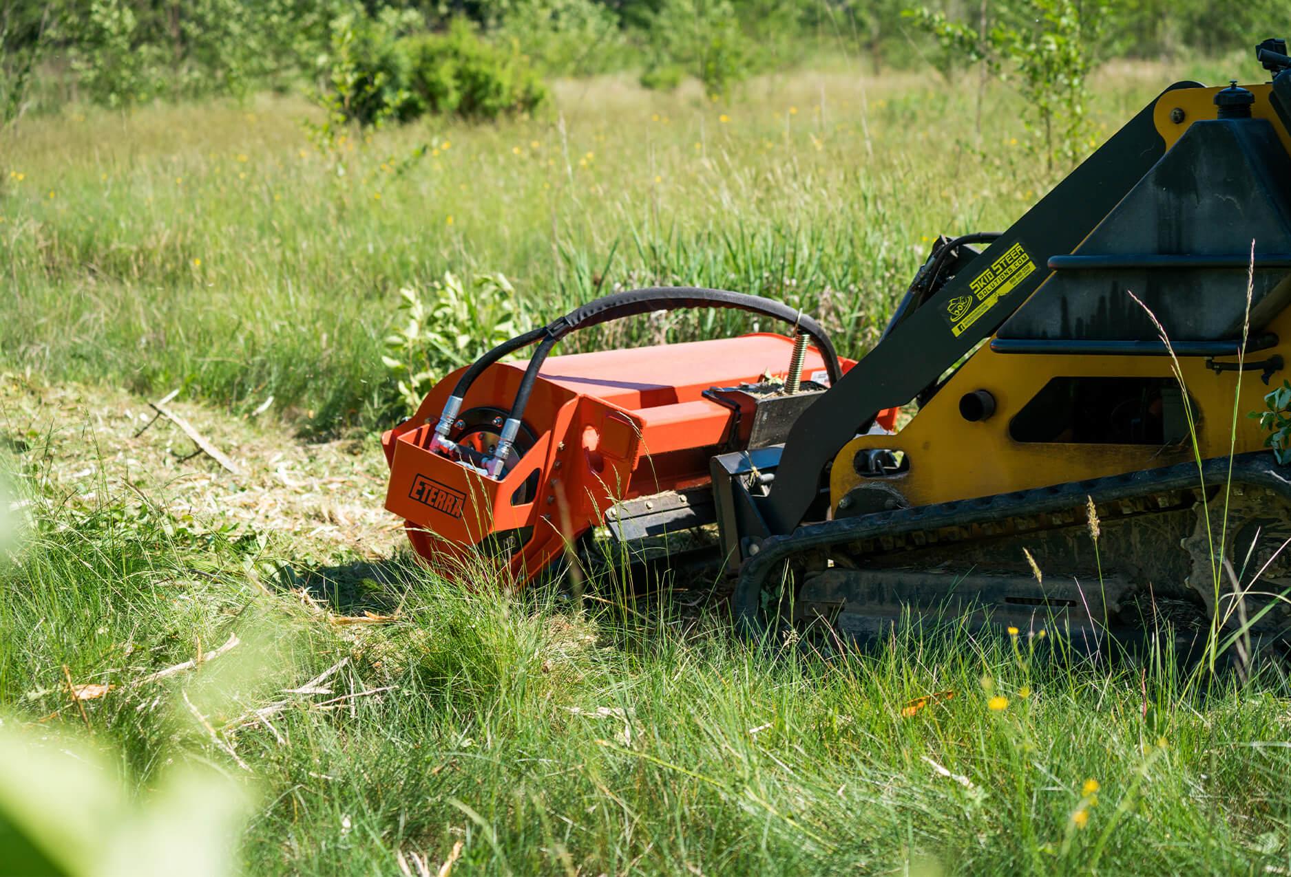Eterra Sidewinder mini Skid Steer flail mower back angle
