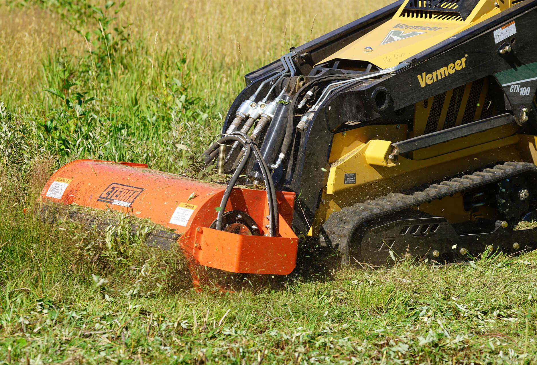 Eterra Sidewinder mini Skid Steer flail mower field mowing