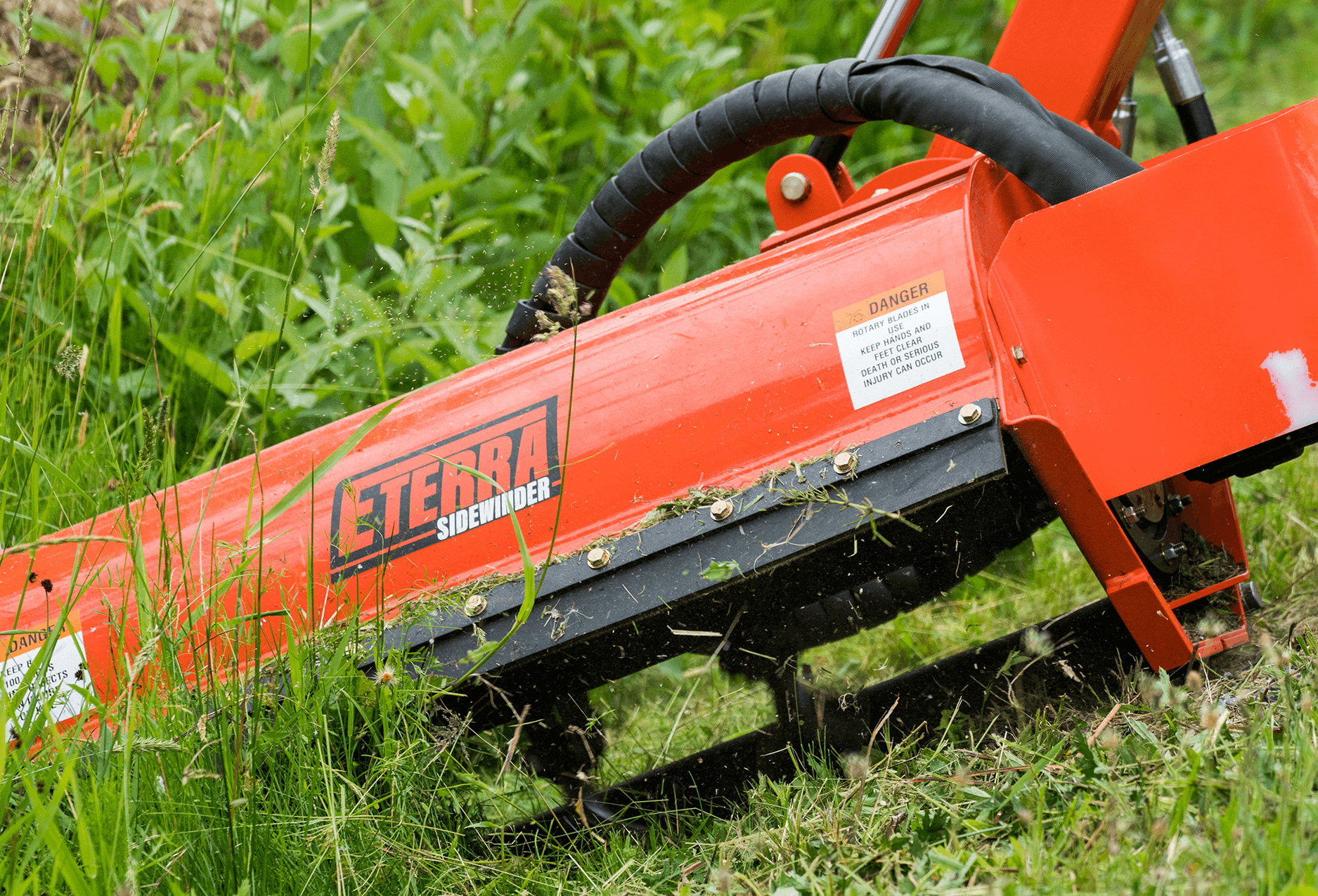 Eterra Sidewinder Mini Skid Steer flail mower close up