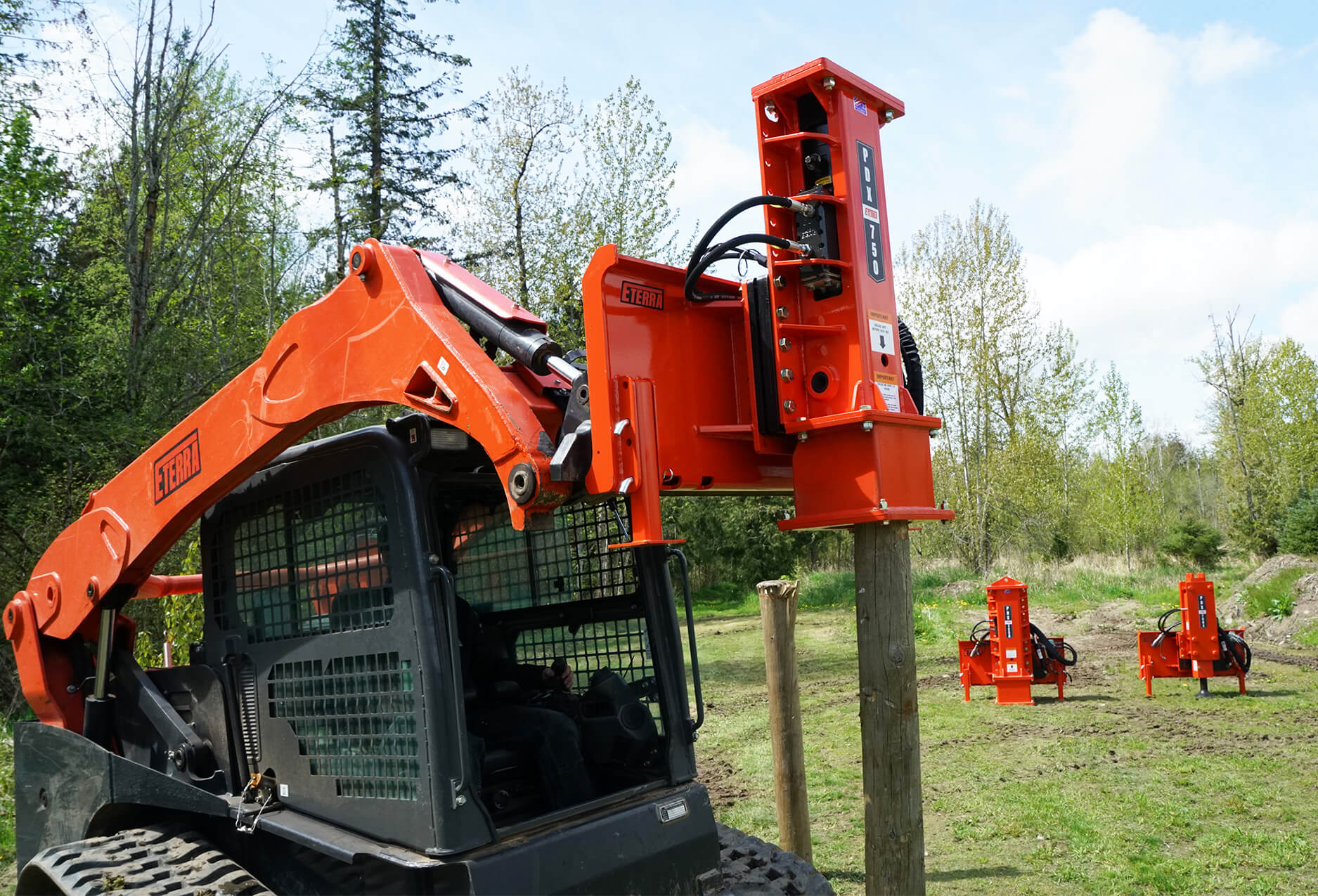 Eterra PDX-750 skid steer Post Driver Attachment side view