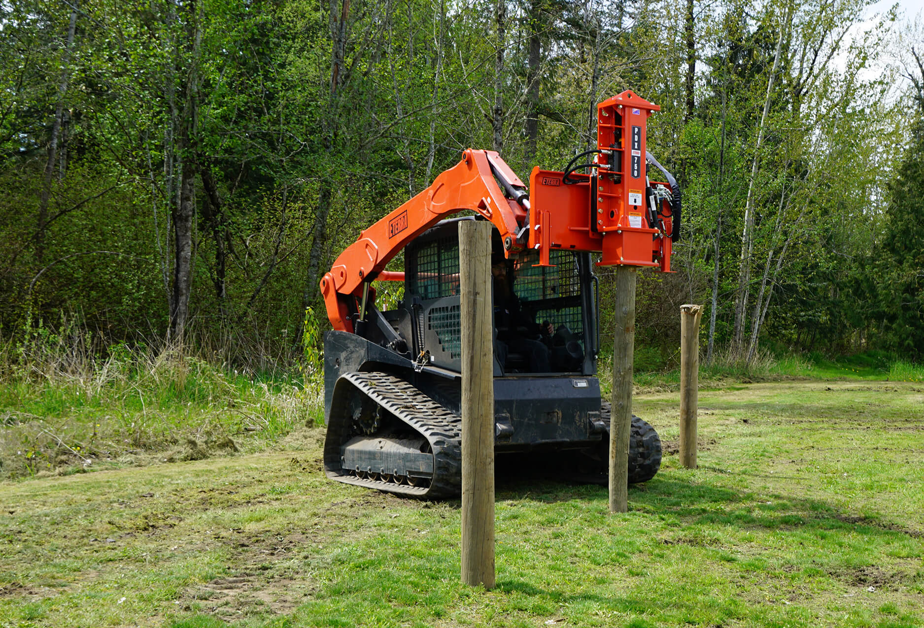 Eterra PDX-750 Skid Steer Post Driver Attachment action fence