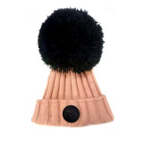 "Removable oversize large yarn Pompom.14"" circumference. 100% Brand New ribbed knit hat in an awesome salmon pink color. With an adorable over-sized removable yarn pompom on the top. Completely covers your ears without having to yank it down all the time."