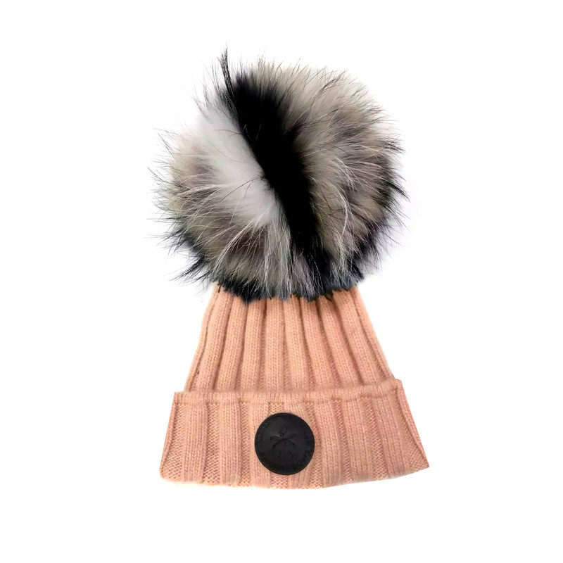 "Genuine fur removable oversize large 14"" circumference Pompom."
