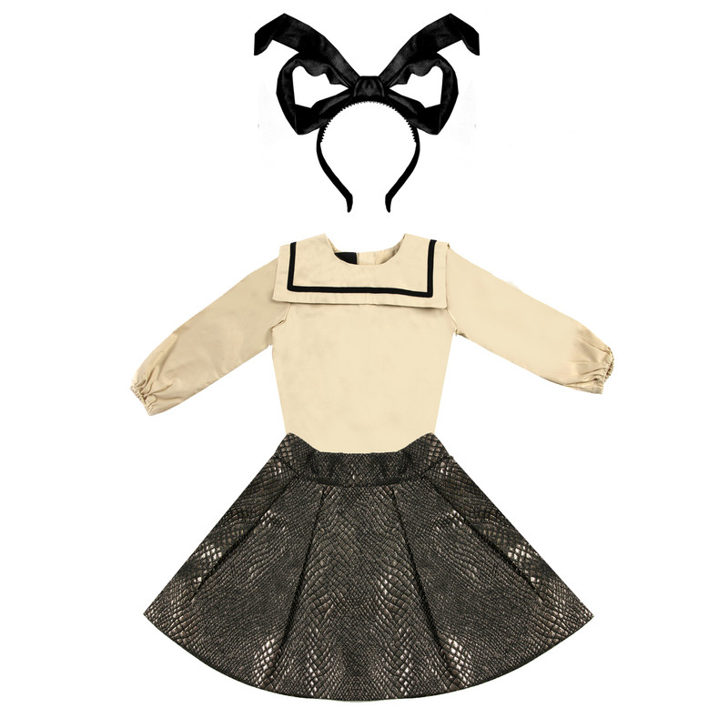 paired with Sailor collar blouse in cream and topsy tuvy black bow.
