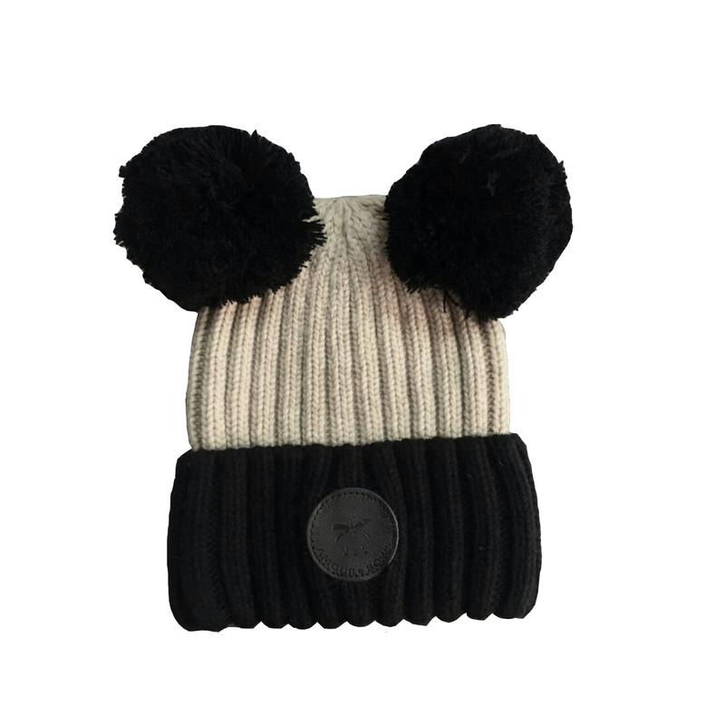 Double Pom Cream Hat