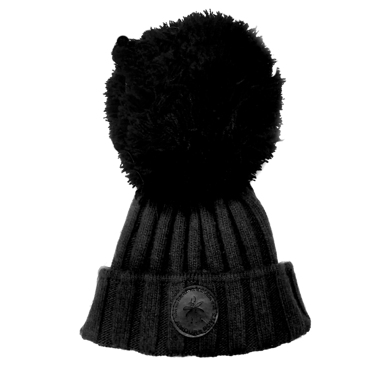 Black knit Hat / Black Yarn