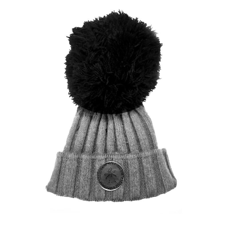 Grey knit Hat Black Yarn