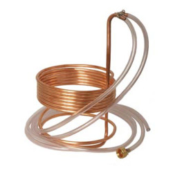 """Copper Immersion Wort Chiller (25' x 3/8"""" With Tubing)"""
