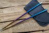 SK Knives: Milled TiSushi Sticks Anno Rainbow w/ Leather Storage Case