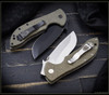 Ernest Emerson: Commander w/ Green Canvas Micarta - Satin Blade & Hardware w/ Steel Flame Vigilant Hardness Clip
