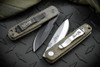 Ernest Emerson: Mini A-100 Right Hand Grind - Green Canvas Micarta - Black Blade & Hardware w/ Steel Flame Bushido Clip