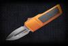 No Limit Knives Akuma Dagger Satin M390 Burnt Orange Gold w/ CF Inlay