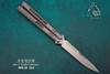 Maxace Knives Obsidian Butterfly Knife Satin Blade w/ Titanium Handles