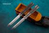 Maxace Knives Obsidian Butterfly Knife Satin Tanto Blade w/ Titanium Handles