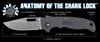Demko Knives AD20.5 Clip Point Stonewashed Blade Shark Lock w/ Gray Textured Grivory Handles
