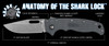 Demko Knives AD20.5 Shark Foot Serrated Stonewashed Blade Shark Lock w/ Gray Textured Grivory Handles