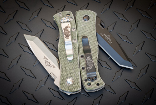 Exclusive: Ernest Emerson CQC-7B Right Hand Grind - Green Canvas Micarta w/ Steel Flame Koi Clip