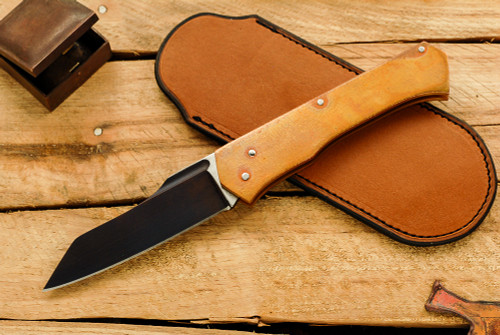 Norse Artefakt:  Skarven Friction Folder with Orange Peel Copper Handles  B