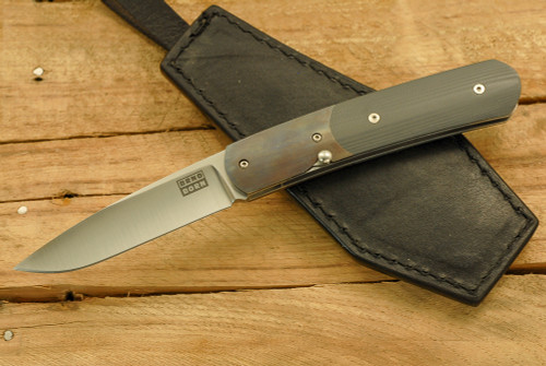Brno Born Dog Leg - Charcoal G-10 w/ Blued Bolsters
