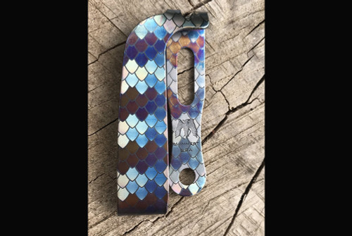 Mummert Knives Slotted Ti Dragon Scale Reverse Clip