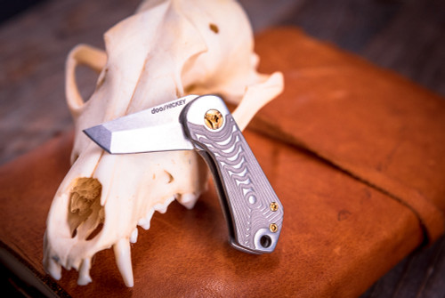 SK Knives: Doohickey Folding Knife - Crescent Titanium Scale w/ Annodized Bronze Hardware