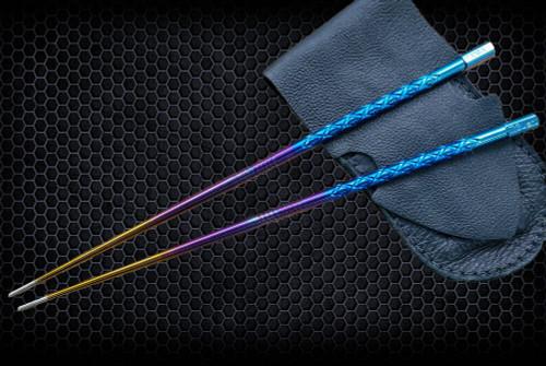 SK Knives: Milled TiSushi Sticks Annodized Rainbow w/ Leather Storage Case