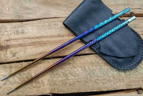 SK Knives: Milled TiSushi Sticks Anno-dized Rainbow w/ Leather Storage Case