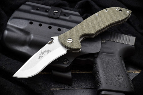 Ernest Emerson Commander w/ Green Canvas Micarta - Satin Blade & Hardware w/ Steel Flame Vigilant Hardness Clip