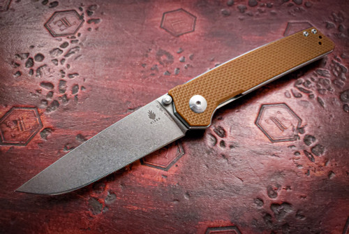 Kizer Cutlery: Vanguard Series Domin -  Brown G-10 - Stonewash - V4516A4