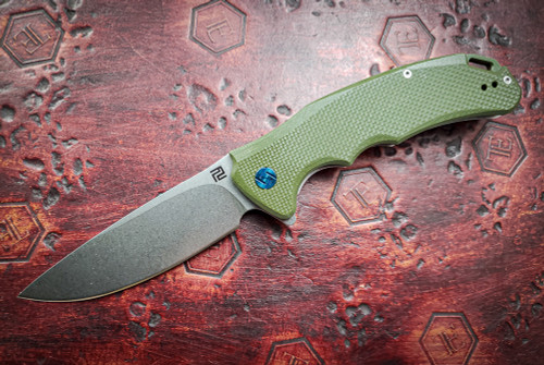 Artisan Cutlery: Tradition Liner Lock Knife Green G-10 Handles