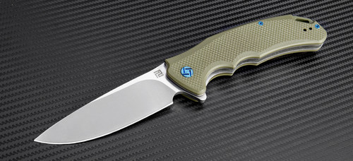 Artisan Cutlery: Tradition Liner Lock Flipper Knife Green G-10 Handles