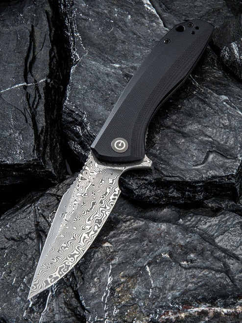 CIVIVI: Baklash Flipper Knife Black G-10 Damascus C801DS